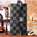 Classic LV Plaid High Quality Leather Flip Cases Holster Covers for iPhone 6S - Black