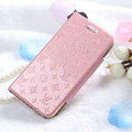 Classic LV folder Leather Cases Book Flip Holster Cover for iPhone 6S - Pink