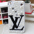 Louis Vuitton LV diamond Crystal Cases Bling Pearl Hard Covers for iPhone 6S - White