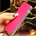 Luxury Swarovski Bling Bumper Frame Leather Flip Case Holster Cover for iPhone 6S - Rose