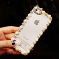 Pretty Swarovski Bling Diamond Pearl Bumper Frame Case Cover for iPhone 6S - White