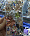 Swarovski crystal cases Bling Maple Leaf diamond cover for iPhone 6S - White