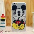 Transparent Cover Disney Mickey Mouse Silicone Shell TPU for iPhone 6S - White