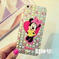 Transparent Cover Disney Minnie Mouse Silicone Cases Heart for iPhone 6S - Pink