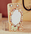 Bling Mirror Bowknot Crystal Cases Pearls Covers for iPhone 7 - Pink