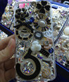 Bling Swarovski crystal cases Flowers 5 diamond cover for iPhone 7 - Black