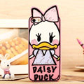 Cartoon Daisy Duck Cover Disney Graffiti Silicone Cases Skin for iPhone 7 - Pink