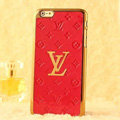 Classic LV Metal Flower Leather Cases Luxury Hard Back Covers Skin for iPhone 7 - Red