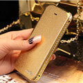 Luxury Swarovski Bling Bumper Frame Leather Flip Case Holster Cover for iPhone 7 - Gold