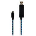 c-han USB Data Cable with LED Blue Light 100CM for iPhone 7 - Black Cable