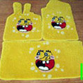Spongebob Tailored Trunk Carpet Auto Floor Mats Velvet 5pcs Sets For BMW 318i - Yellow
