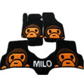 Winter Real Sheepskin Baby Milo Cartoon Custom Cute Car Floor Mats 5pcs Sets For BMW 320i - Black