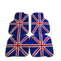 Custom Real Sheepskin British Flag Carpeted Automobile Floor Matting 5pcs Sets For BMW 325i - Blue