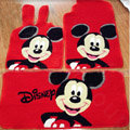 Disney Mickey Tailored Trunk Carpet Cars Floor Mats Velvet 5pcs Sets For BMW 545i - Red