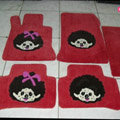 Monchhichi Tailored Trunk Carpet Cars Flooring Mats Velvet 5pcs Sets For BMW 545i - Red