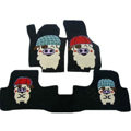 Winter Genuine Sheepskin Pig Cartoon Custom Cute Car Floor Mats 5pcs Sets For BMW 545i - Black