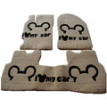 Cute Genuine Sheepskin Mickey Cartoon Custom Carpet Car Floor Mats 5pcs Sets For BMW 750Li - Beige