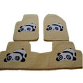 Winter Genuine Sheepskin Panda Cartoon Custom Carpet Car Floor Mats 5pcs Sets For BMW 750Li - Beige