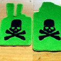 Funky Skull Tailored Trunk Carpet Auto Floor Mats Velvet 5pcs Sets For BMW MINI cooper - Green