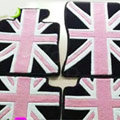 British Flag Tailored Trunk Carpet Cars Flooring Mats Velvet 5pcs Sets For BMW 116i - Pink
