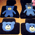 Cartoon Bear Tailored Trunk Carpet Cars Floor Mats Velvet 5pcs Sets For BMW 116i - Black