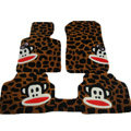 Custom Real Sheepskin Paul Frank Carpet Cars Floor Mats 5pcs Sets For Honda Ballade - Brown