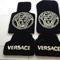 Versace Tailored Trunk Carpet Cars Flooring Mats Velvet 5pcs Sets For Hyundai Moinca - Black