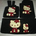 Hello Kitty Tailored Trunk Carpet Cars Floor Mats Velvet 5pcs Sets For KIA Opirus - Black