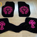 Chrome Hearts Custom Nifty Carpet Cars Floor Mats Velvet 5pcs Sets For Nissan Civilian - Pink