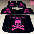 Funky Skull Design Your Own Trunk Carpet Floor Mats Velvet 5pcs Sets For Nissan X-TRAIL - Pink