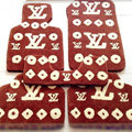 LV Louis Vuitton Custom Trunk Carpet Cars Floor Mats Velvet 5pcs Sets For Nissan X-TRAIL - Brown