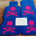 Cool Skull Tailored Trunk Carpet Auto Floor Mats Velvet 5pcs Sets For Peugeot 208 - Blue