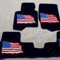USA Flag Tailored Trunk Carpet Cars Flooring Mats Velvet 5pcs Sets For Peugeot 208 - Black