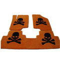 Personalized Real Sheepskin Skull Funky Tailored Carpet Car Floor Mats 5pcs Sets For Peugeot 307 - Yellow
