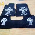 Chrome Hearts Custom Design Carpet Cars Floor Mats Velvet 5pcs Sets For Peugeot 607 - Black