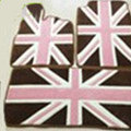 British Flag Tailored Trunk Carpet Cars Flooring Mats Velvet 5pcs Sets For Peugeot HR1 - Brown