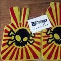 Funky Skull Custom Trunk Carpet Auto Floor Mats Velvet 5pcs Sets For Peugeot HR1 - Yellow