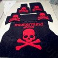 Funky Skull Tailored Trunk Carpet Auto Floor Mats Velvet 5pcs Sets For Peugeot HR1 - Red