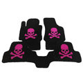Personalized Real Sheepskin Skull Funky Tailored Carpet Car Floor Mats 5pcs Sets For Peugeot HR1 - Pink