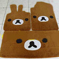 Rilakkuma Tailored Trunk Carpet Cars Floor Mats Velvet 5pcs Sets For Peugeot HR1 - Brown
