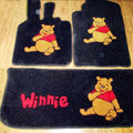 Winnie the Pooh Tailored Trunk Carpet Cars Floor Mats Velvet 5pcs Sets For Peugeot HR1 - Black