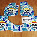 Funky Skull Tailored Trunk Carpet Auto Floor Mats Velvet 5pcs Sets For Peugeot Onyx - Blue