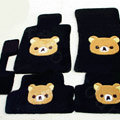 Rilakkuma Tailored Trunk Carpet Cars Floor Mats Velvet 5pcs Sets For Peugeot Onyx - Black
