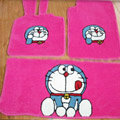 Doraemon Tailored Trunk Carpet Cars Floor Mats Velvet 5pcs Sets For Peugeot RCZ - Pink