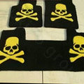 Funky Skull Tailored Trunk Carpet Auto Floor Mats Velvet 5pcs Sets For Peugeot RCZ - Black