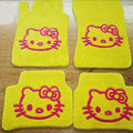 Hello Kitty Tailored Trunk Carpet Auto Floor Mats Velvet 5pcs Sets For Peugeot RCZ - Yellow