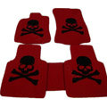 Personalized Real Sheepskin Skull Funky Tailored Carpet Car Floor Mats 5pcs Sets For Peugeot RCZ - Red