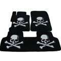 Personalized Real Sheepskin Skull Funky Tailored Carpet Car Floor Mats 5pcs Sets For Volkswagen Multivan - Black