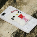 Bling Hello kitty Crystal Cases Rhinestone Pearls Covers for iPhone 6S Plus - White