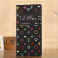 Hot Sale LV Louis Vuitton Floral Bracket Leather Flip Cases Holster Covers for iPhone 6S Plus - Black